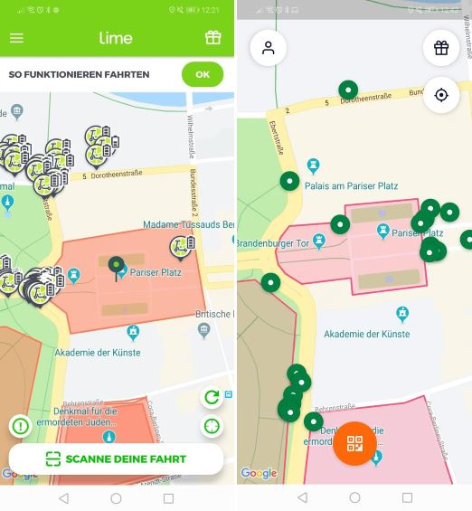Parkverbotszonen für e-Scooter